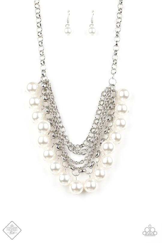 One Way Wall Street White Pearl Necklace
