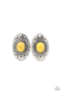 Stone Tiki Yellow Post Earrings