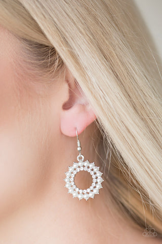 Wreathed In Radiance White Earrings