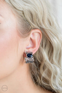 Glamorously Grand Duchess Blue Clip Earrings