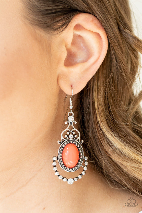 CAMEO And Juliet Orange Earrings