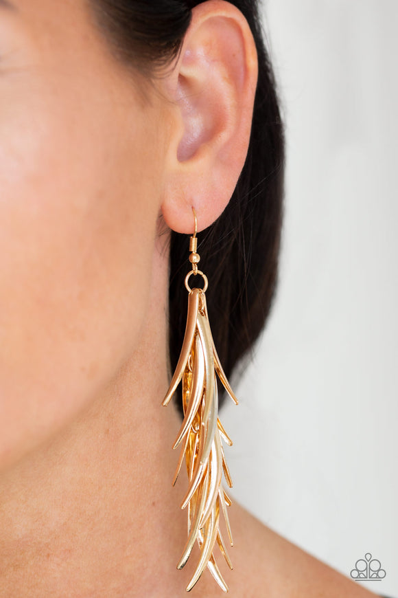 Tasseled Talons Gold Earrings