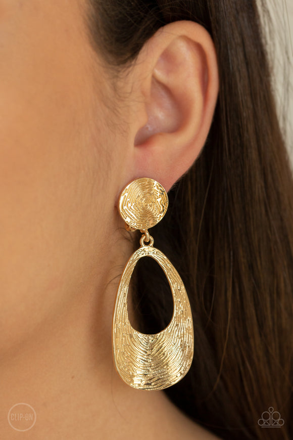 Printed Perfection Gold Earrings