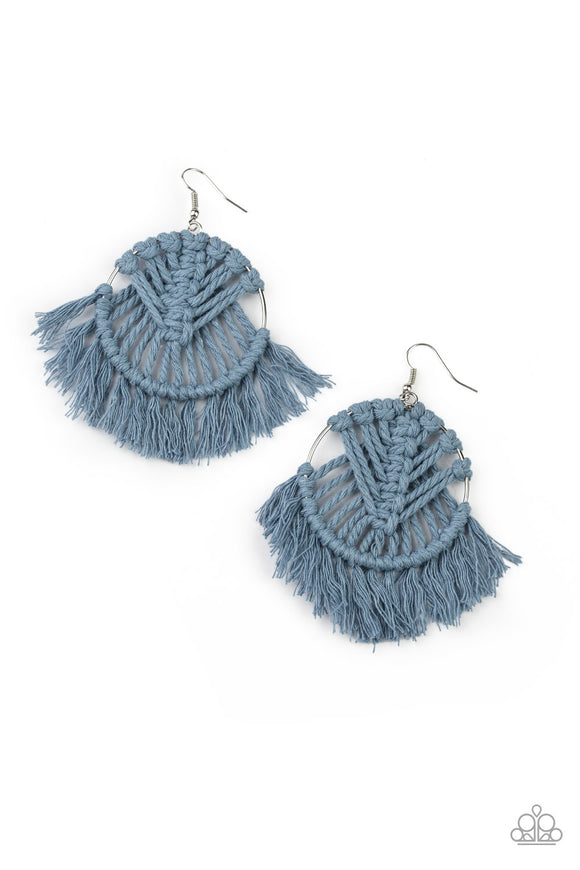 All About MACRAME Blue Earrings