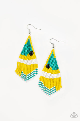 Brightly Beaded Yellow Earrings