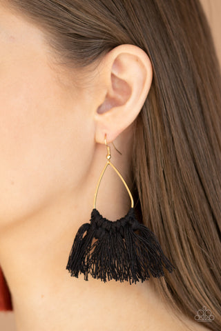 Tassel Treat Black Earrings