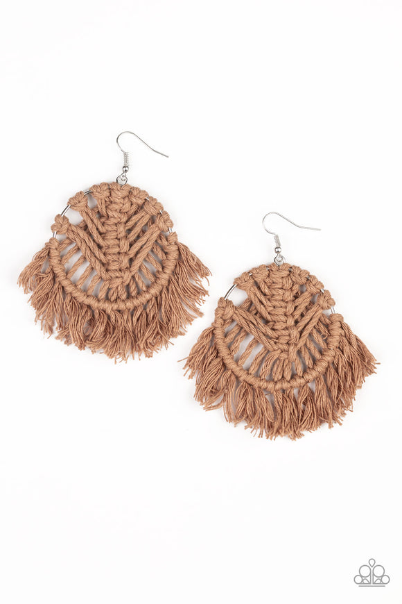 All About MACRAME Brown Earrings