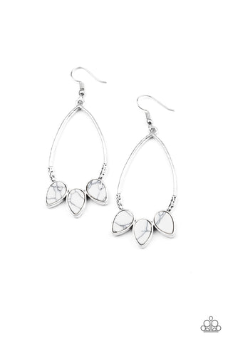 Fierce Frontier White Earrings