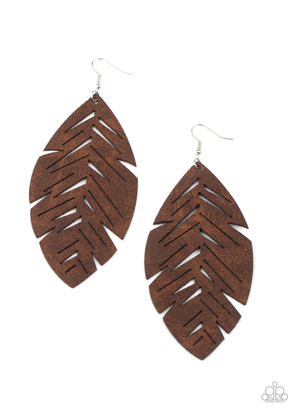 I Want To Fly Brown Leather Earrings