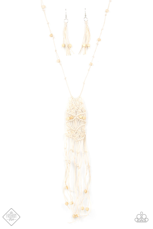 Macrame Majesty White Necklace