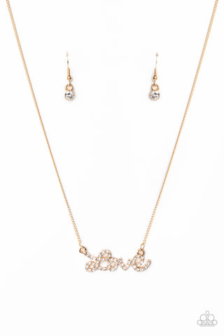 Head Over Heels In Love Gold Necklace