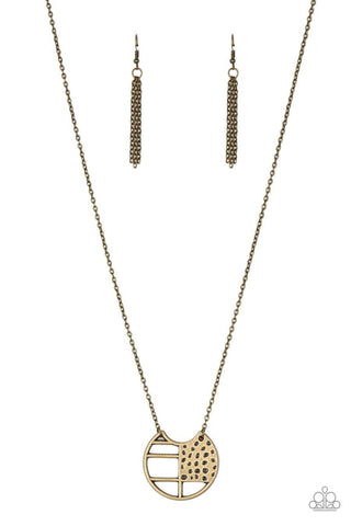 Abstract Aztec Brass Necklace