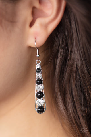 Drawn Out Drama Black Earrings