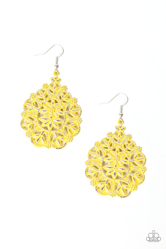 Floral Affair Yellow Earrings