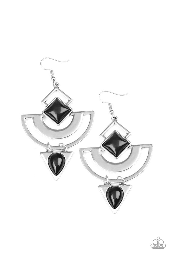 Geo Gypsy Black Earrings