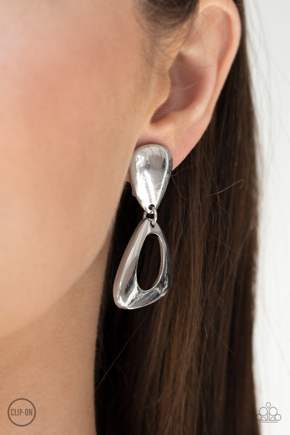 Going For Broker Silver Clip Earrings
