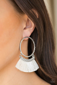 This Is Sparta! White Earrings
