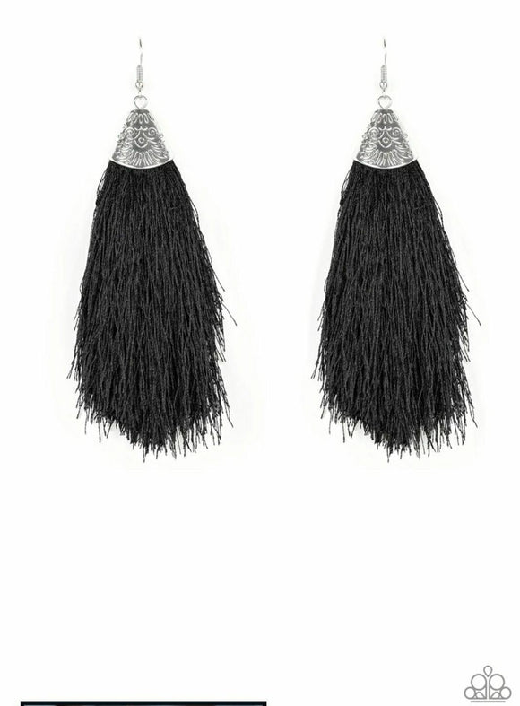 Tassel Temptress Black Earrings