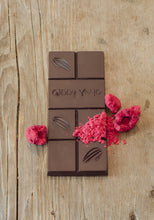 Load image into Gallery viewer, RASPBERRY 73% DARK CHOCOLATE BAR CERTIFIED ORGANIC