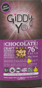 MACA 76% DARK CHOCOLATE BAR CERTIFIED ORGANIC