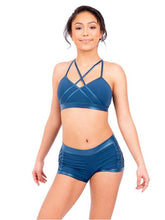 Load image into Gallery viewer, Warrior Cross Front Halter Bra Top and Shorts