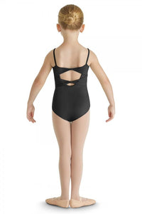 CL8857 Glitter Bow Front Yoke Cami Leotard