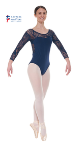 Ele/1 3/4 Length Sleeved Leotard with Sweetheart Neckline