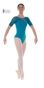 Ele/3 Short Sleeved Leotard with Sweetheart Neckline