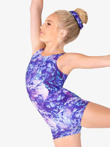 "GB186C Girls ""Dreamy Blooms"" Print Tank Short Unitard"