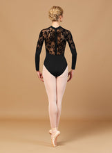Load image into Gallery viewer, Kahlo Floriade Mesh High Neck Zipper Leotard