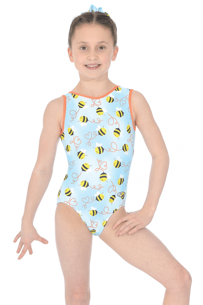 Z543HONPR Honey Bee Printed Sleeveless Leotard
