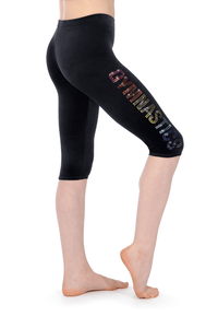 Z681 Smooth Velvet Leggings with Rainbow Sequin Gymnastics Motif