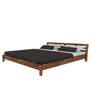 Hugo Sheesham Wood King Size Bed In Low Height (Walnut Color)