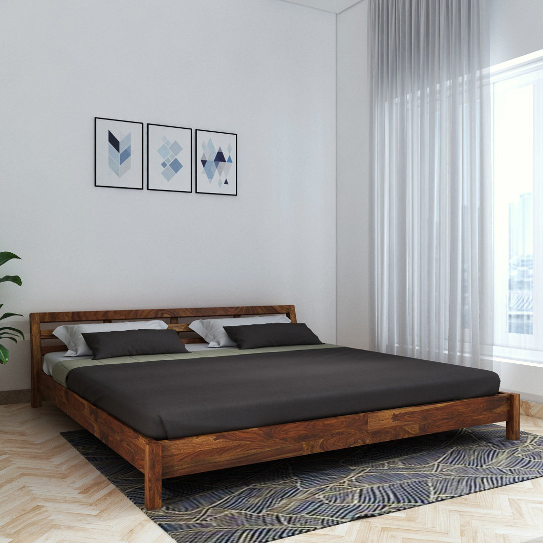 Picture of: Hugo Sheesham Wood King Size Bed In Low Height Walnut Color Vintage Home