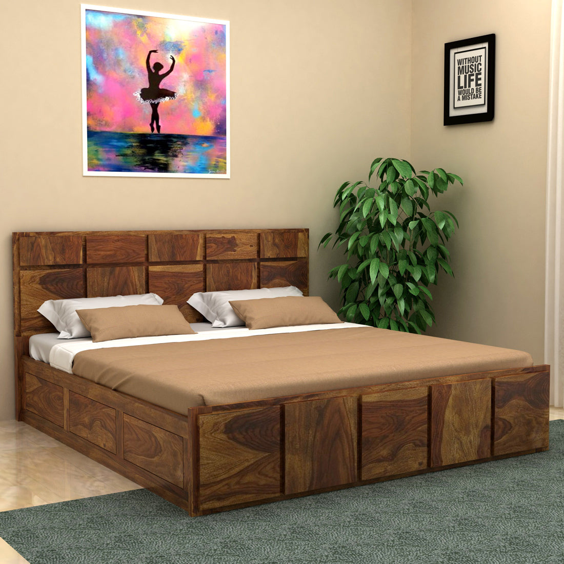 Amrilo Sheesham Wood King Size Bed In Box Storage Vintage Home
