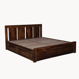Florentine Sheesham Wood King Size Bed  in Box Storage - Walnut Color