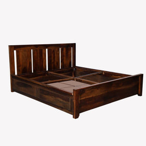 Florentine Sheesham Solid Wood Queen Box storage Bed In Provincial Teak Finish