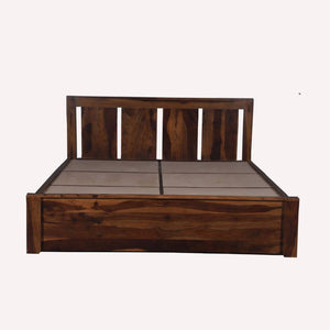 Florentine Sheesham Solid Wood Queen Bed In Brown Color