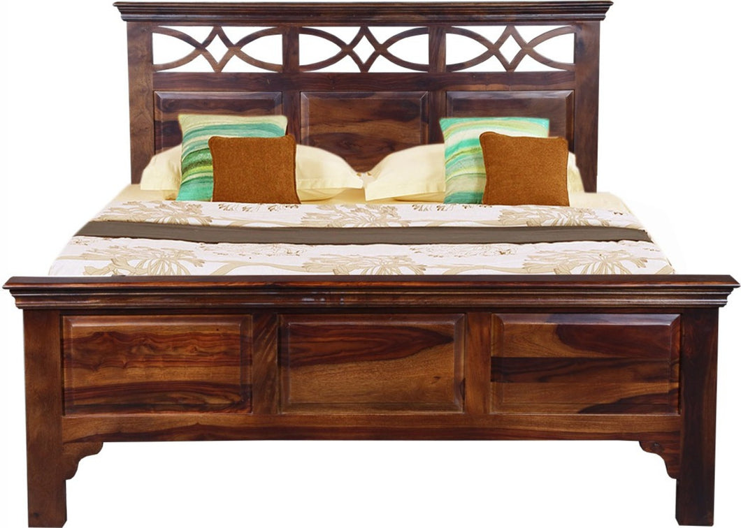 Vintage Home Broadway Sheesham Wood Queen Bed - Finish Color - Provincial Teak Finish