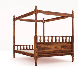 Vintage Home Sofia Poster Sheesham Wood Queen Bed - Finish Color - Provincial Teak