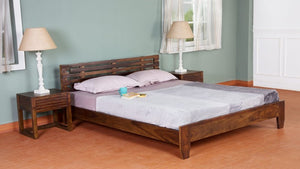 Morino King Size Sheesham Wood Bed Low Height