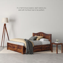 Load image into Gallery viewer, Iris Sheesham Wood King Bed With Storage Box In Provincial Teak