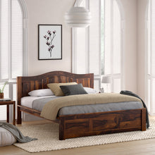Load image into Gallery viewer, Irish Sheesham Wood Queen Size Without Storage Bed In Provincial Teak Finish