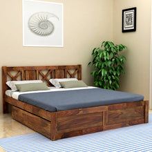 Load image into Gallery viewer, Sheesham  Wood King Drawer Bed - Finish Color - Provincial Teak