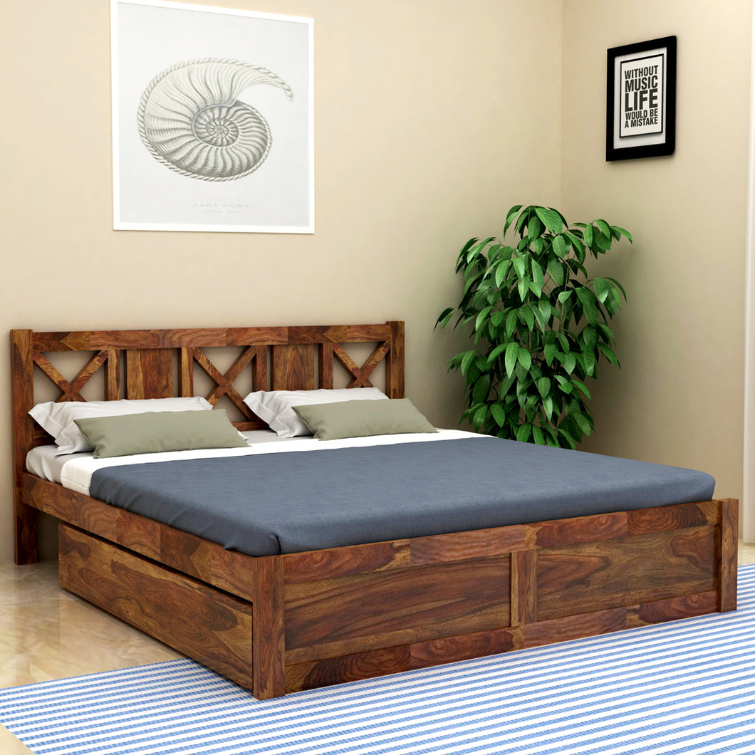 Sheesham  Wood King Drawer Bed - Finish Color - Provincial Teak