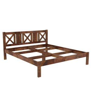 Sheesham Wood King Size Bed - Finish Color - Provincial Teak