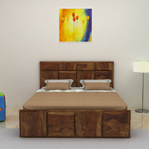Amrilo Solid Wood Queen size  Bed Without Storage In  Provincial Teak