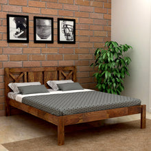 Load image into Gallery viewer, Custom X  Sheesham Wood Queen Size Bed Without Storage Bed In  Provincial Teak