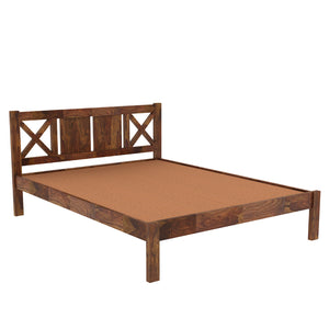 X  Sheesham Wood Queen Size Bed Without Storage Bed In  Provincial Teak