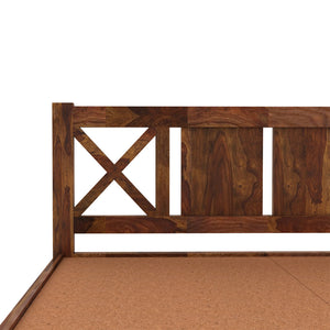 Custom X  Sheesham Wood Queen Size Bed Without Storage Bed In  Provincial Teak